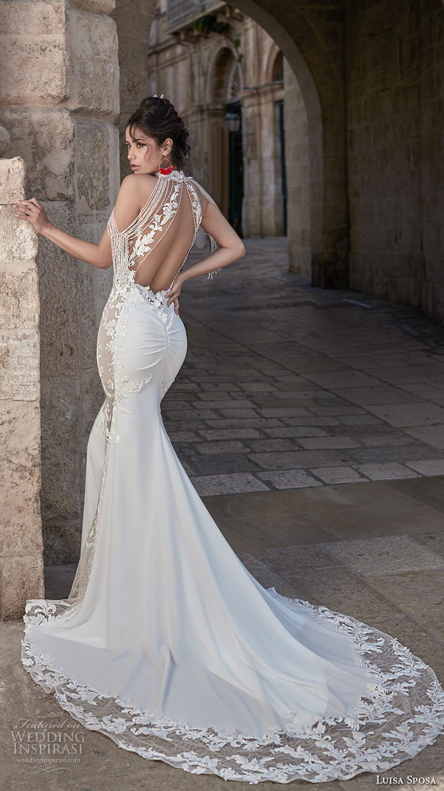 luisa sposa 2020 bridal cold shoulder sweetheart neckline light embellishment elegant glamorous fit and flare wedding dress backless low back chapel train (11) bv