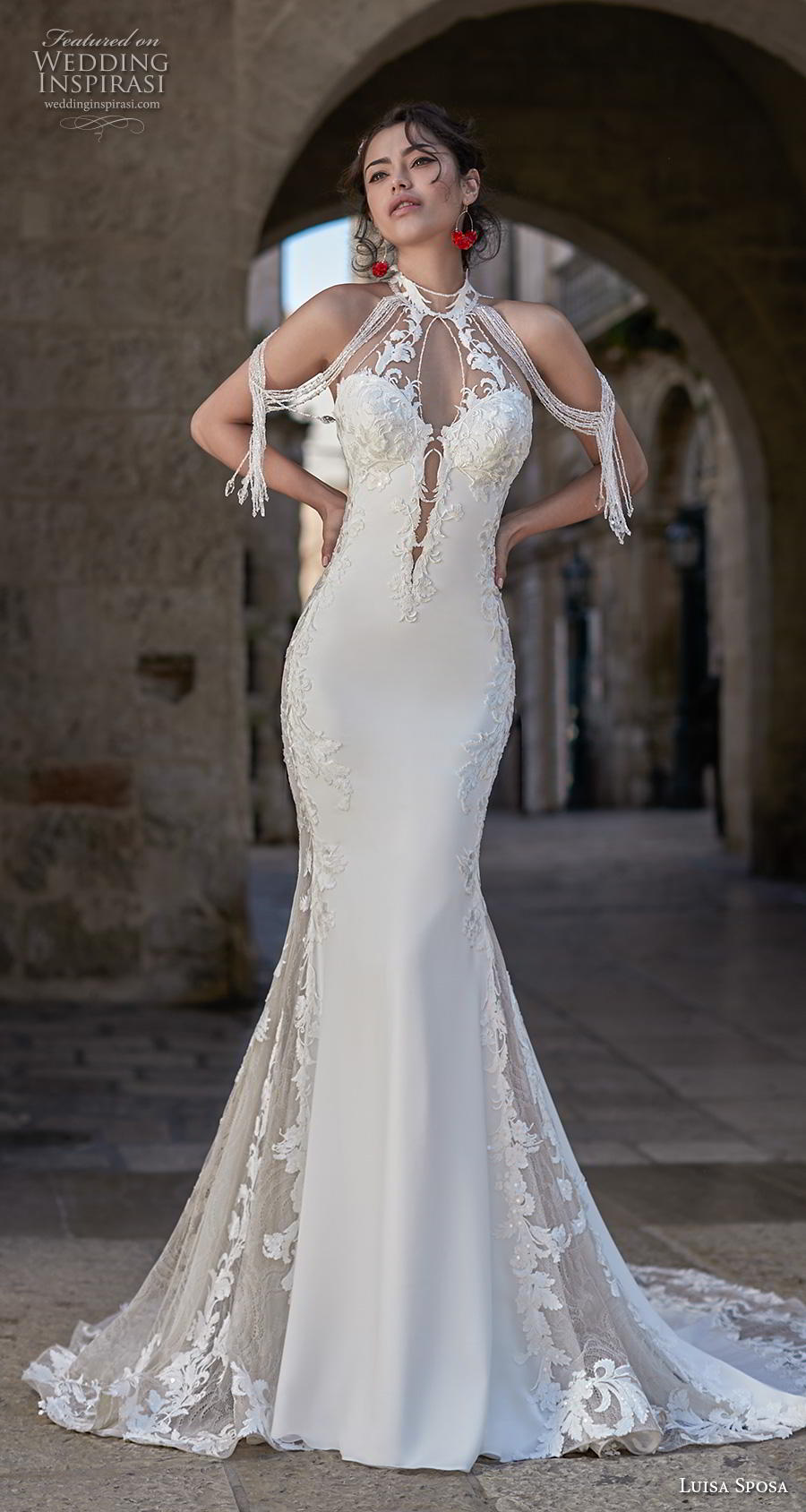 luisa sposa 2020 bridal cold shoulder sweetheart neckline light embellishment elegant glamorous fit and flare wedding dress backless low back chapel train (11) mv