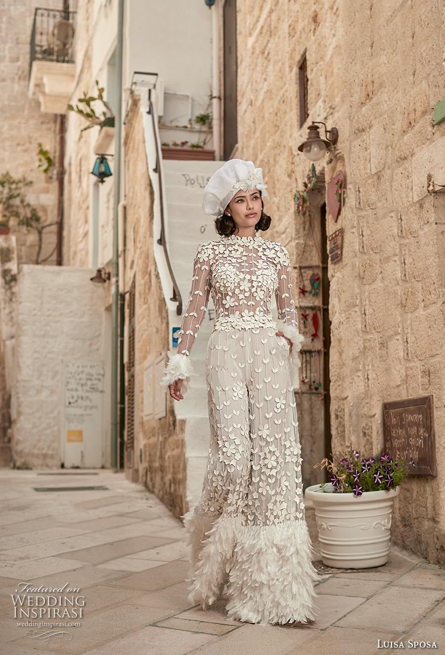 luisa sposa 2020 bridal long sleeves jewel neck full embellishment modern jumpsuit (10) mv