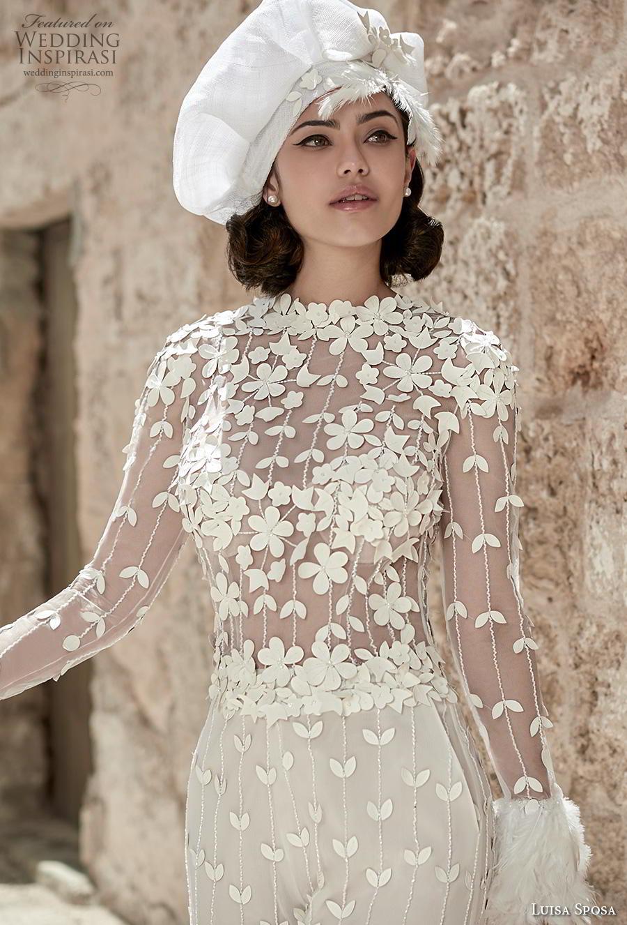 luisa sposa 2020 bridal long sleeves jewel neck full embellishment modern jumpsuit (10) zv