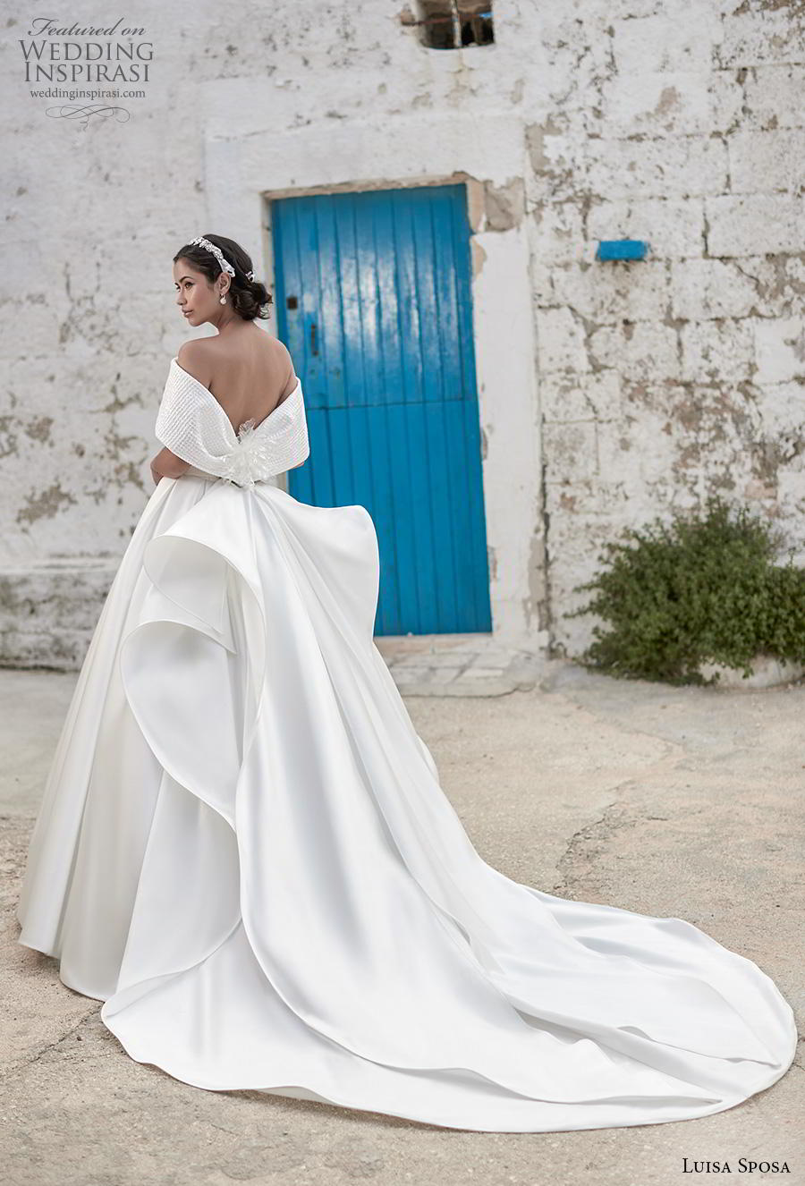 luisa sposa 2020 bridal off the should straight across neckline simple minimalist elegant a  line wedding dress with pockets backless chapel train (4) bv