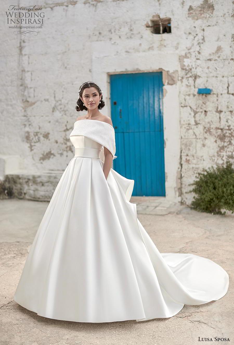 luisa sposa 2020 bridal off the should straight across neckline simple minimalist elegant a  line wedding dress with pockets backless chapel train (4) mv