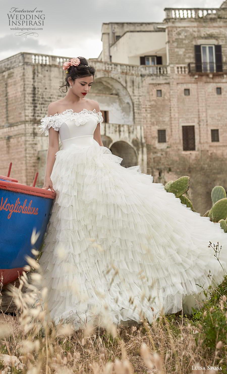 luisa sposa 2020 bridal off the shoulder straight across neckline ruffled skirt romantic a  line wedding dress (12) mv