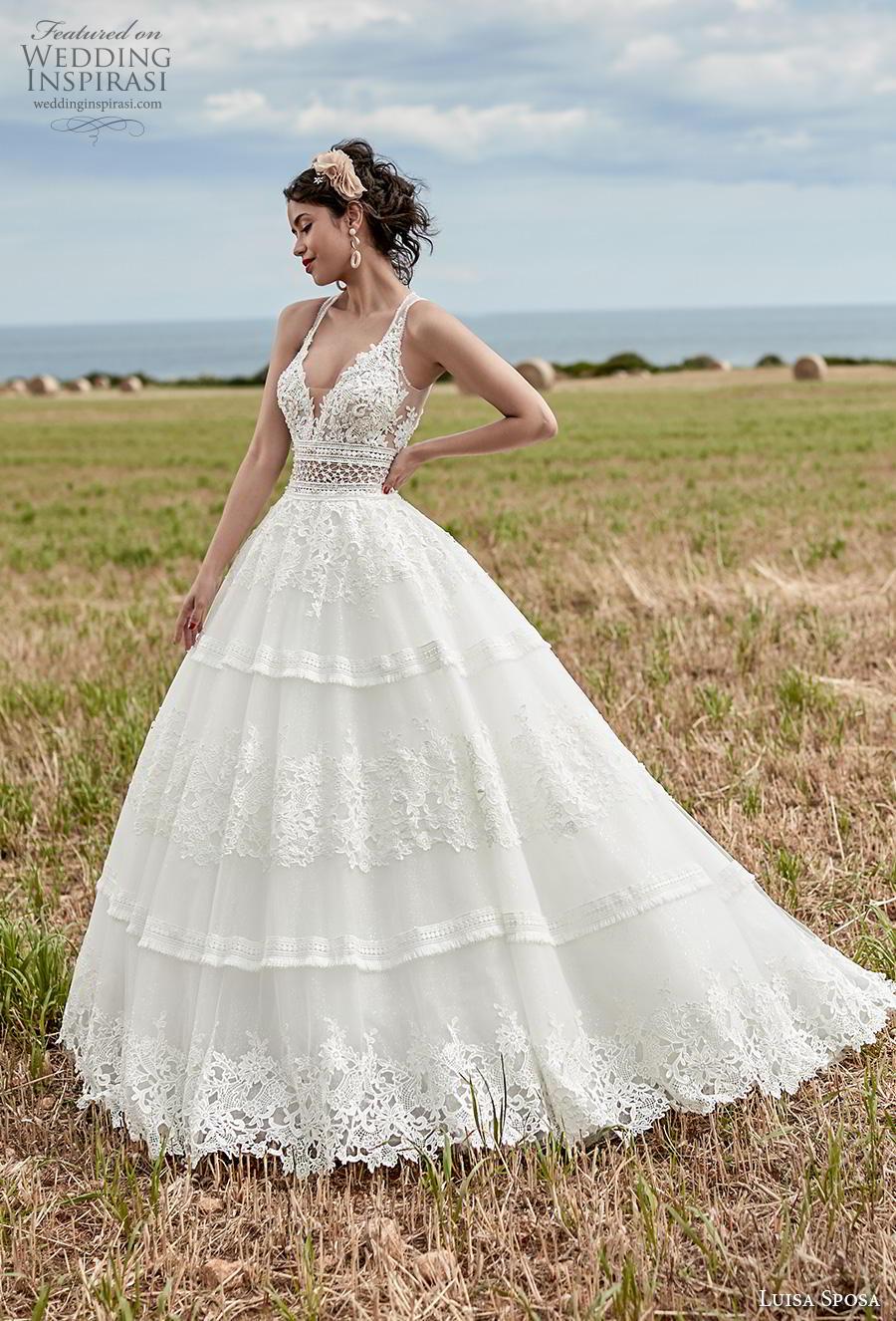 luisa sposa 2020 bridal sleeveless deep sweetheart neckline full embellishment romantic a  line wedding dress sweep train (5) mv