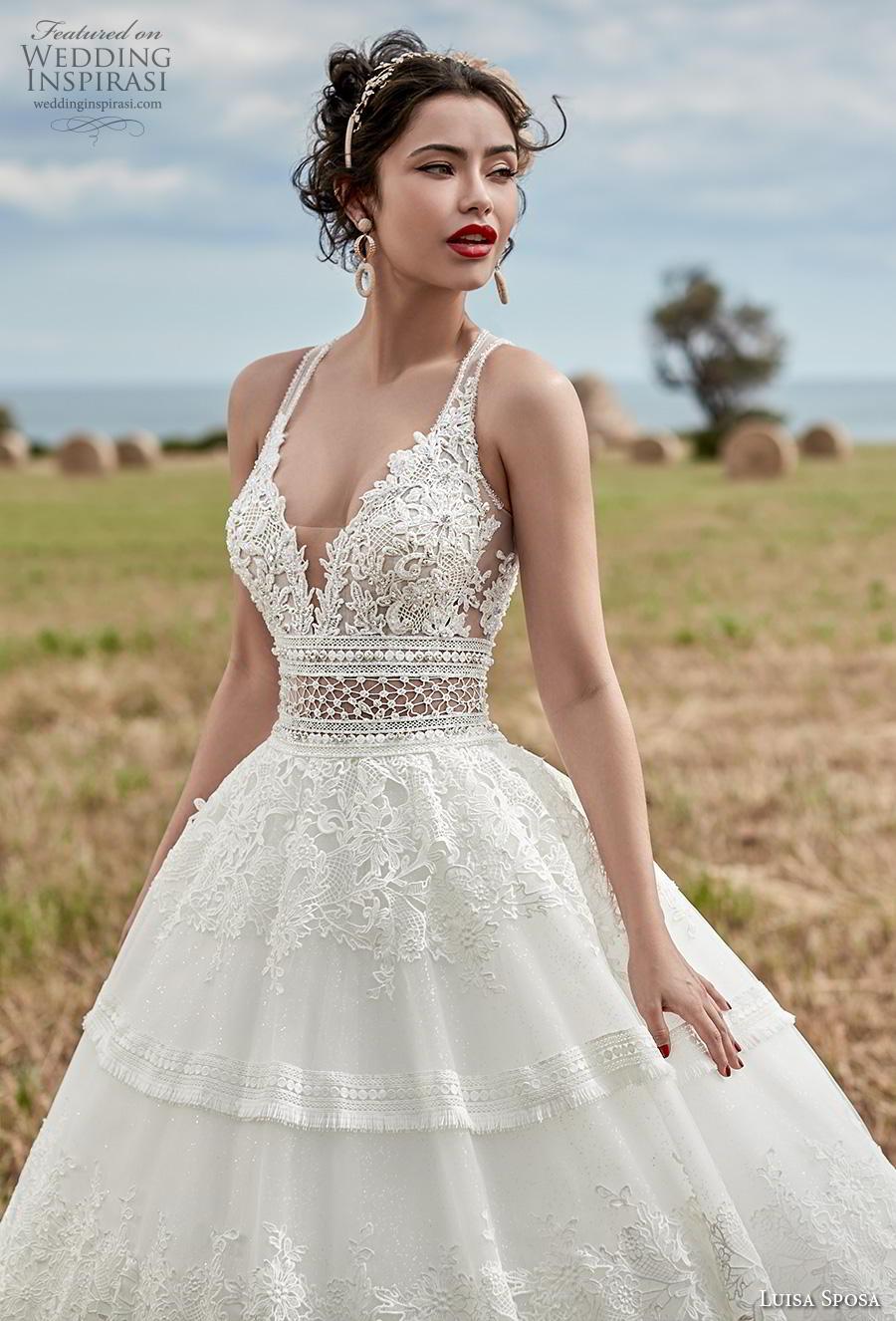 luisa sposa 2020 bridal sleeveless deep sweetheart neckline full embellishment romantic a  line wedding dress sweep train (5) zv