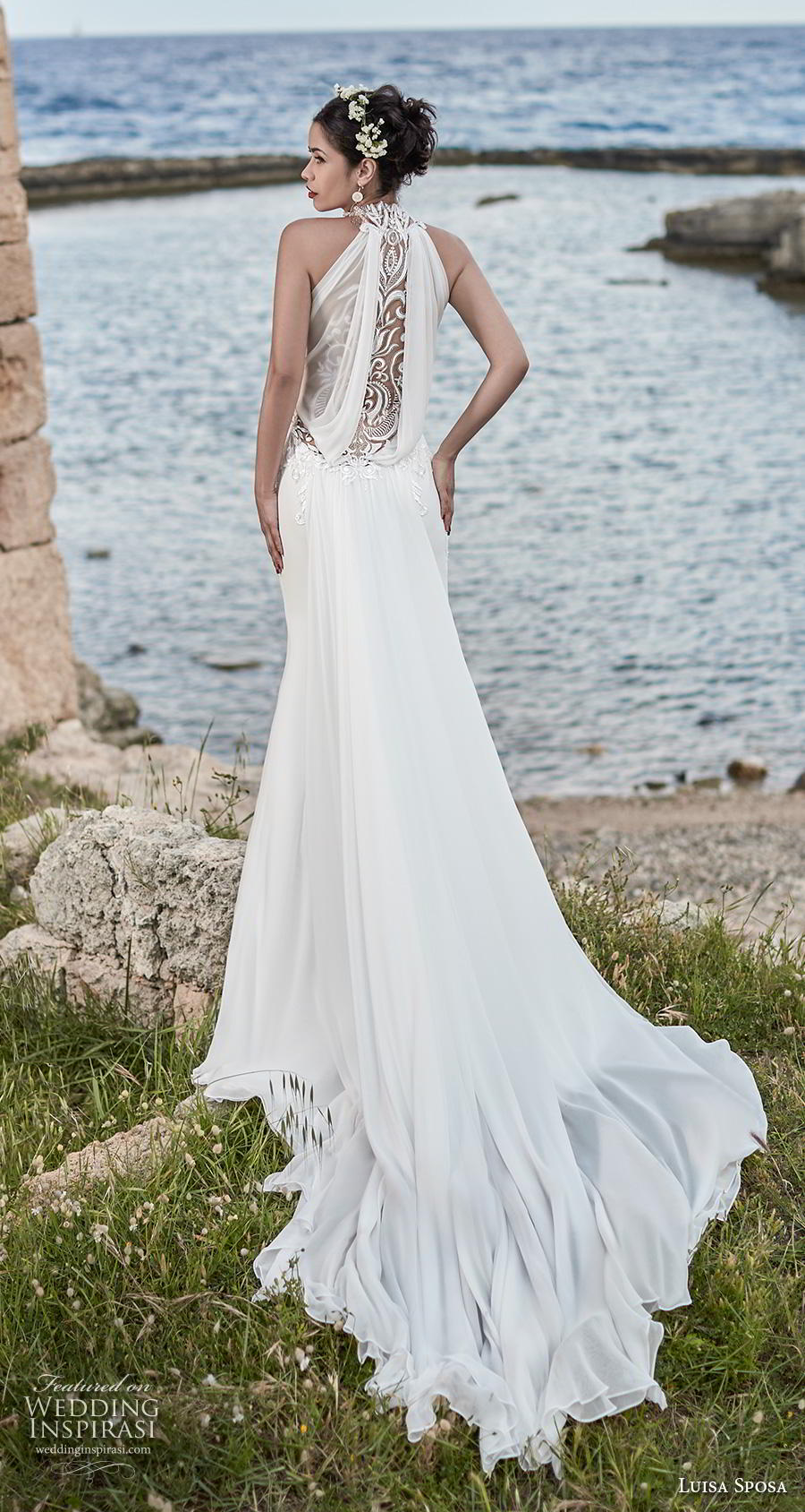 luisa sposa 2020 bridal sleeveless halter neck heavily embellished bodice elegant fit and flare wedding dress lace back chapel train (24) bv
