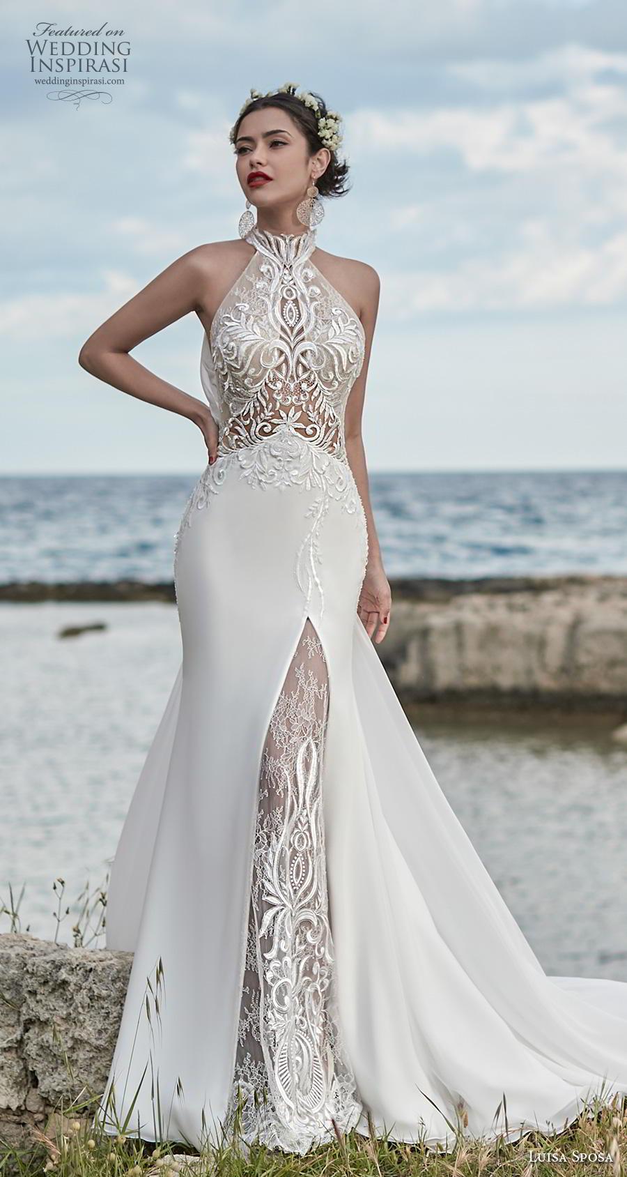 luisa sposa 2020 bridal sleeveless halter neck heavily embellished bodice elegant fit and flare wedding dress lace back chapel train (24) mv