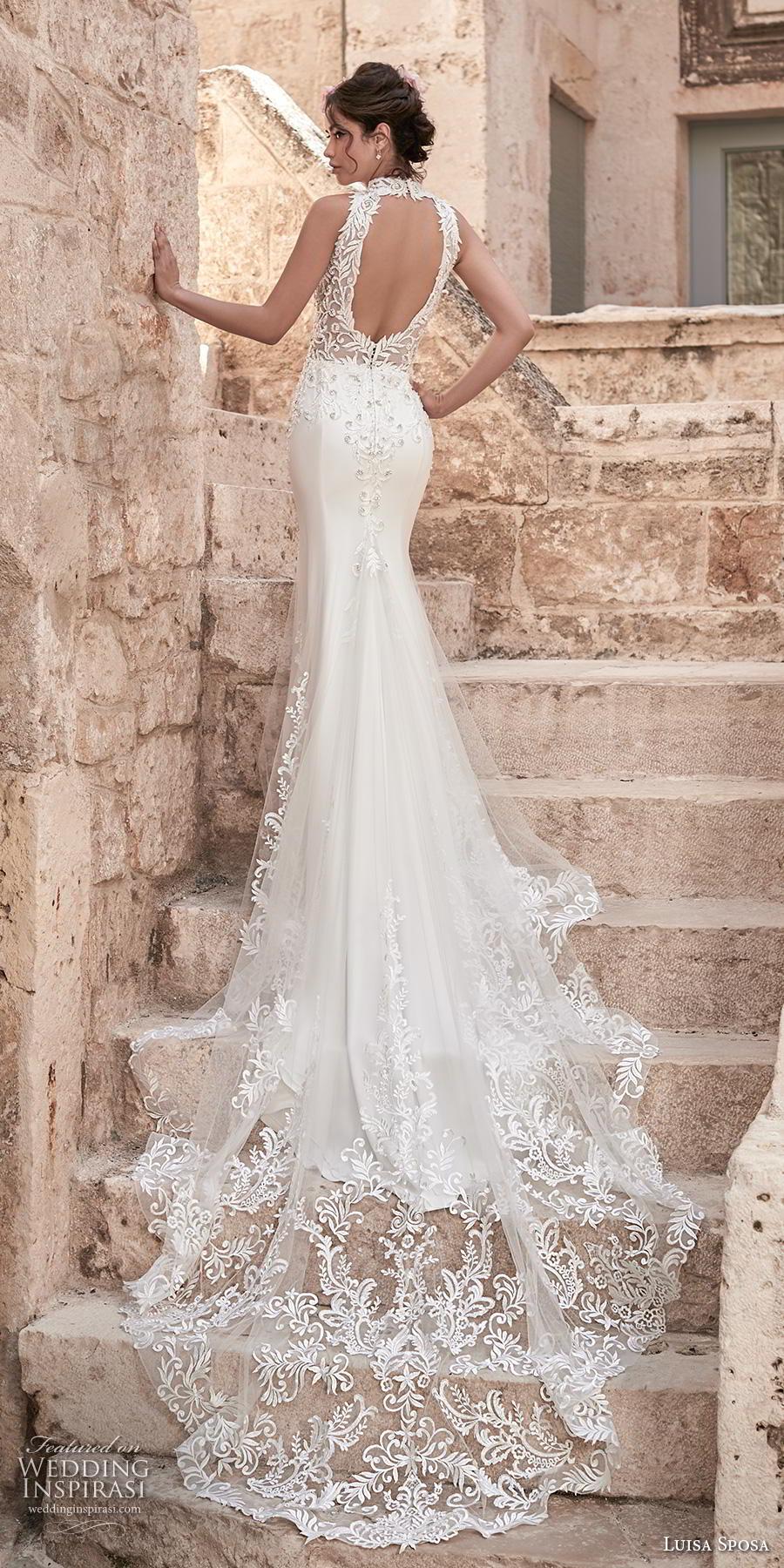 luisa sposa 2020 bridal sleeveless halter neck illusion v neck heavily embellished bodice slit skirt elegant sexy fit and flare wedding dress chapel train (2) bv