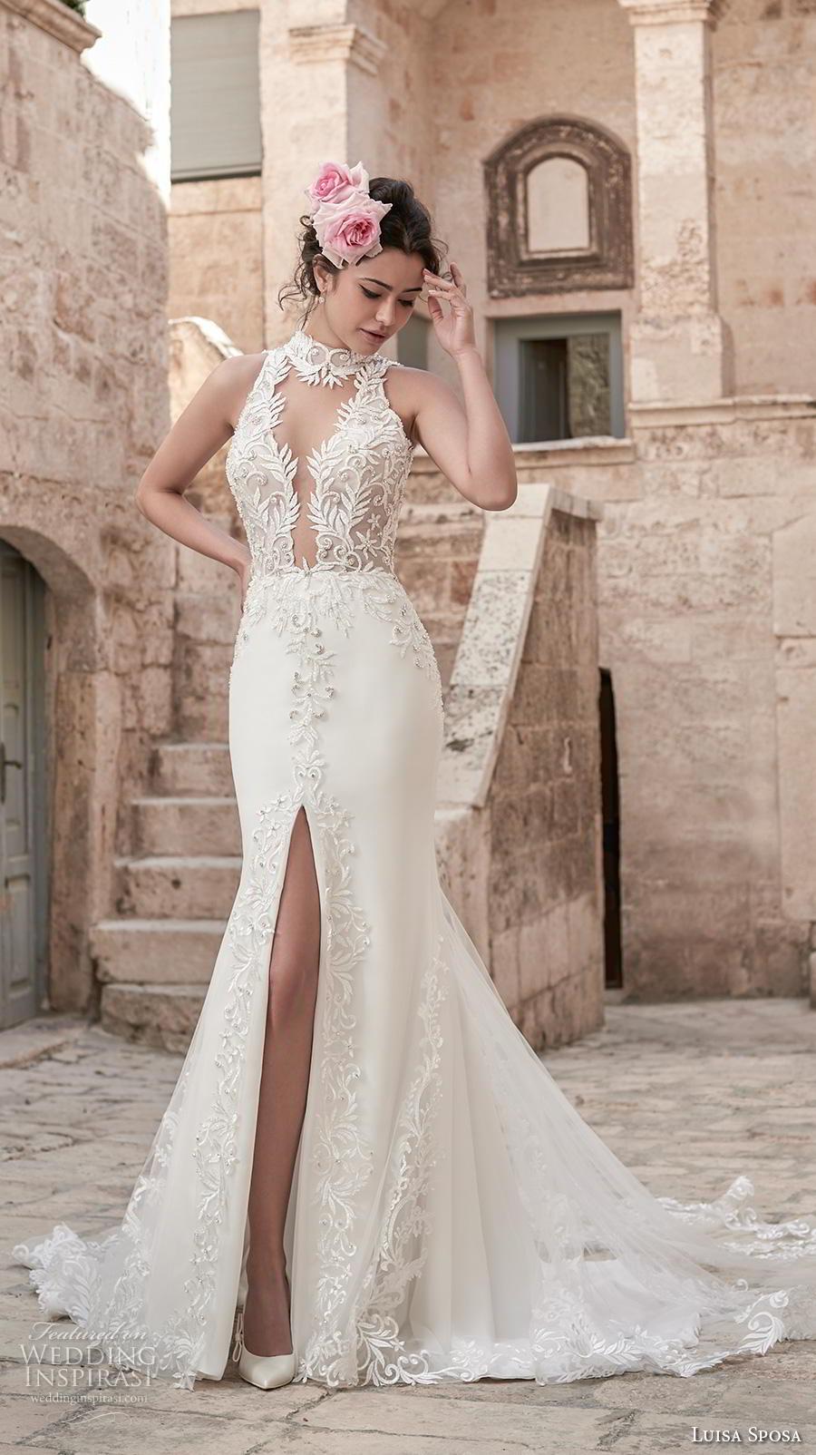 luisa sposa 2020 bridal sleeveless halter neck illusion v neck heavily embellished bodice slit skirt elegant sexy fit and flare wedding dress chapel train (2) mv