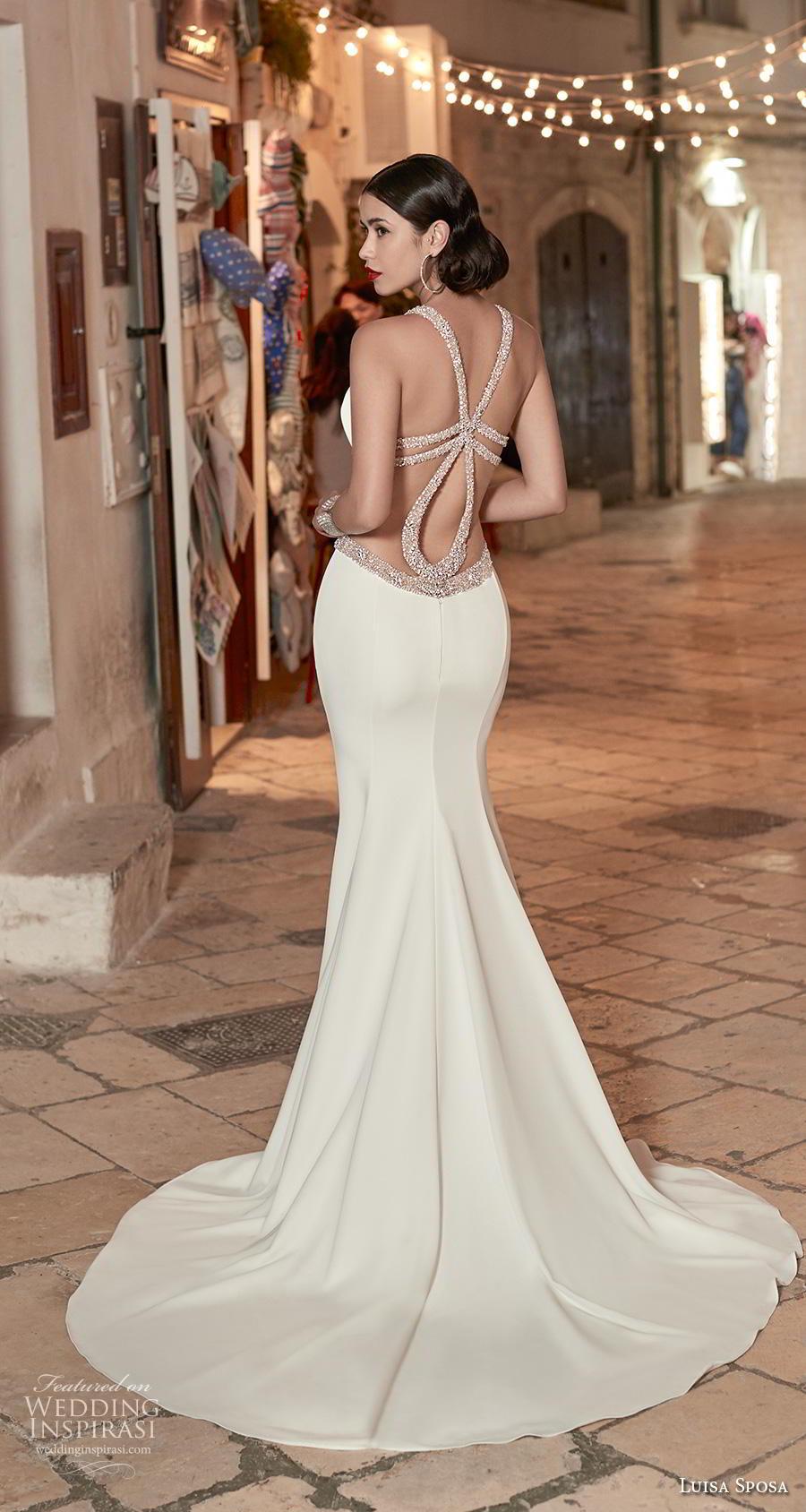 luisa sposa 2020 bridal sleeveless halter neck keyhole bodice cutout side slit skirt simple glamorous sheath wedding dress cross strap back medium train (19) bv