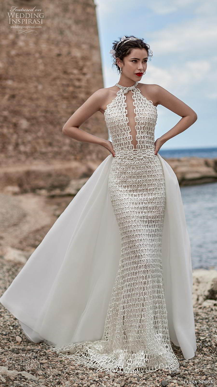 luisa sposa 2020 bridal sleeveless halter neck keyhole bodice full embellishment glamorous elegant sheath wedding dress a  line overskirt (21) mv