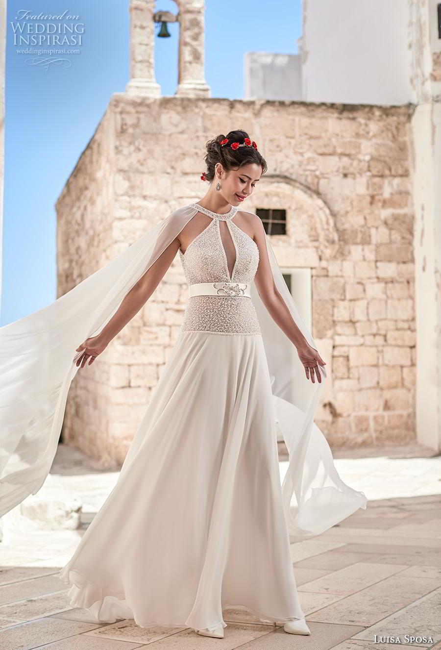 luisa sposa 2020 bridal sleeveless halter neck keyhole bodice heavily embellished bodice grecian glamorous a  line wedding dress sweep train (25) mv
