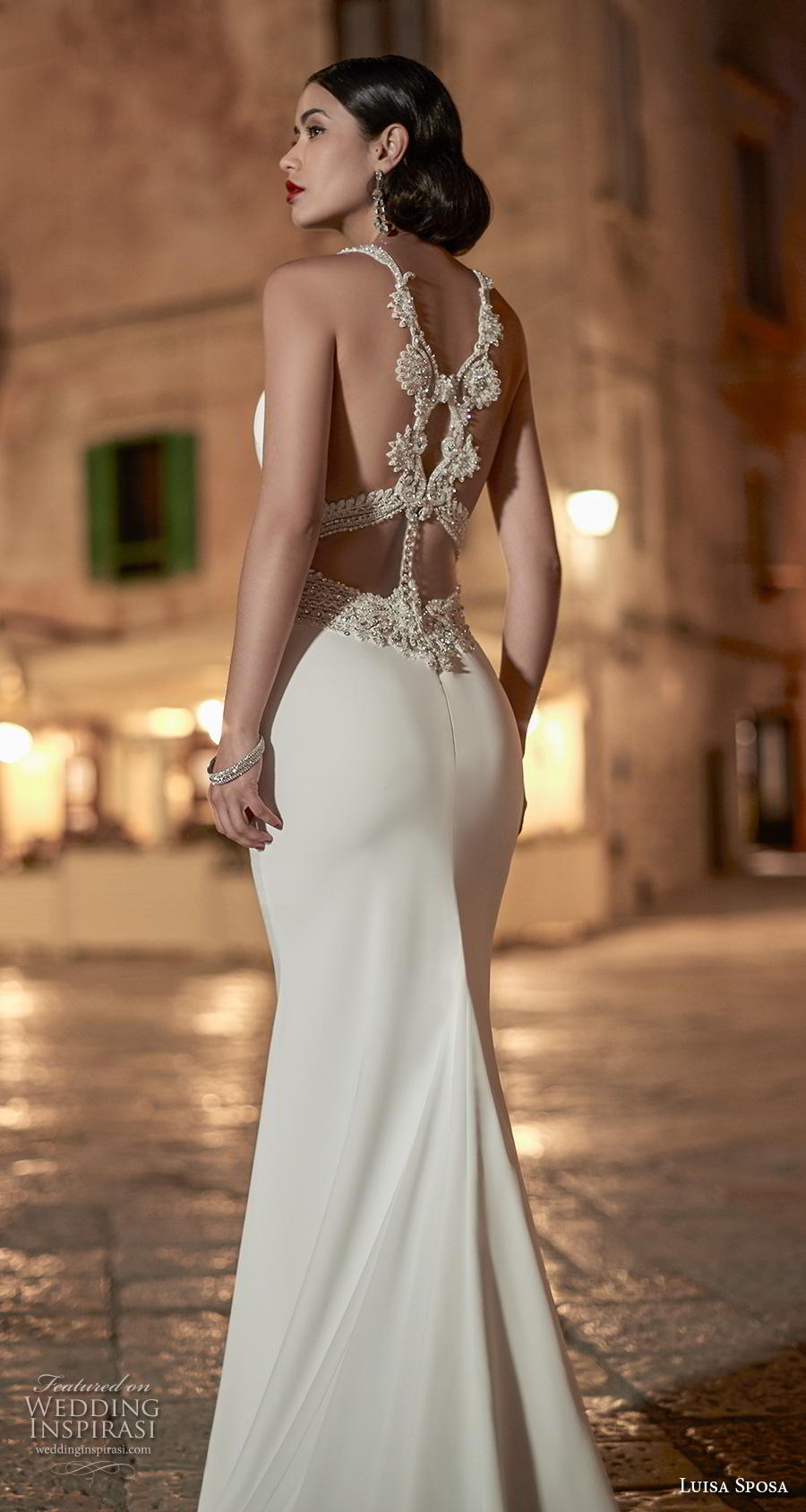 luisa sposa 2020 bridal sleeveless halter neck simple elegant glamorous fit and flare sheath wedding dress strap back chapel train (6) bv