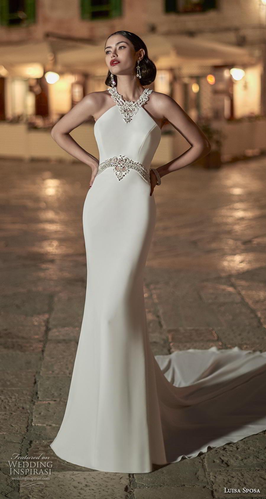 luisa sposa 2020 bridal sleeveless halter neck simple elegant glamorous fit and flare sheath wedding dress strap back chapel train (6) mv