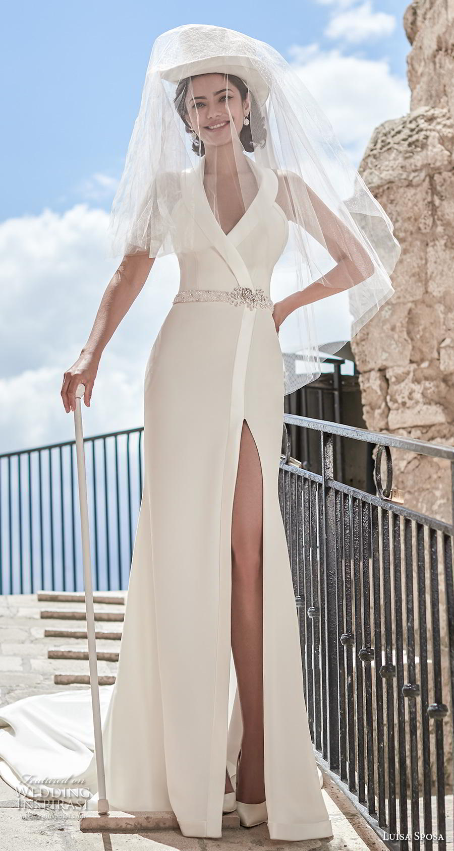 luisa sposa 2020 bridal sleeveless halter neck simple elegant modern slit skirt modified a  line wedding dress chapel train (9) mv