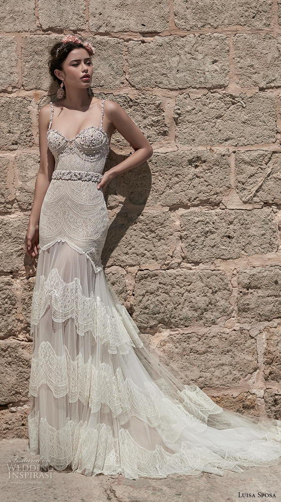 luisa sposa 2020 bridal sleeveless spaghetti strap sweetheart neckline heavily embellished bodice bustier glamorous fit and flare wedding dress (17) mv
