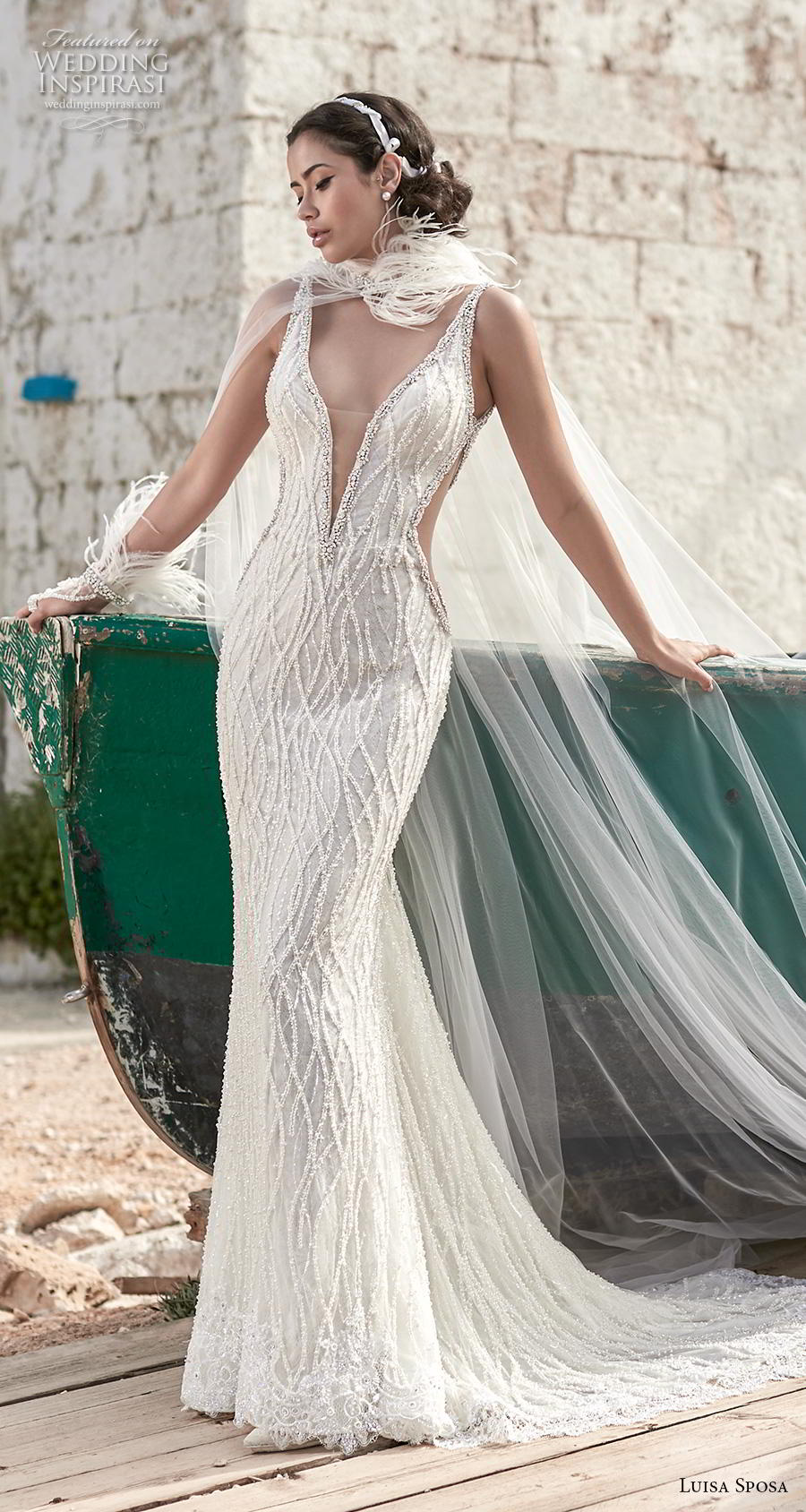 luisa sposa 2020 bridal sleeveless with strap deep plunging v neck full embellishment cut out side glamorous sexy fit and flare sheath wedding dress chapel train (16) mv