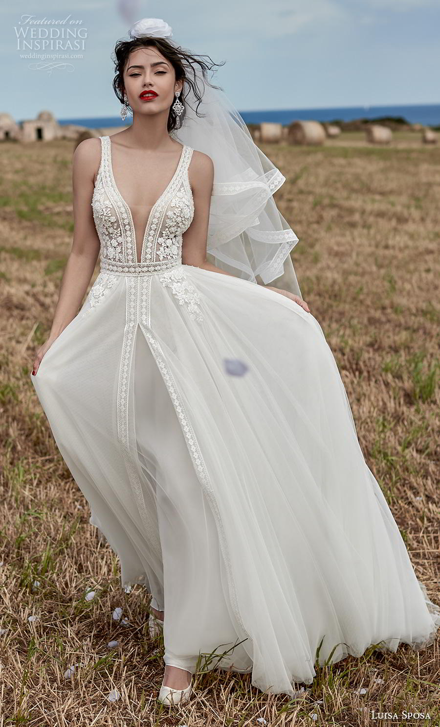 luisa sposa 2020 bridal sleeveless with strap deep plunging v neck heavily embellished bodice open side romantic soft a  line wedding dress sweep train (8) mv