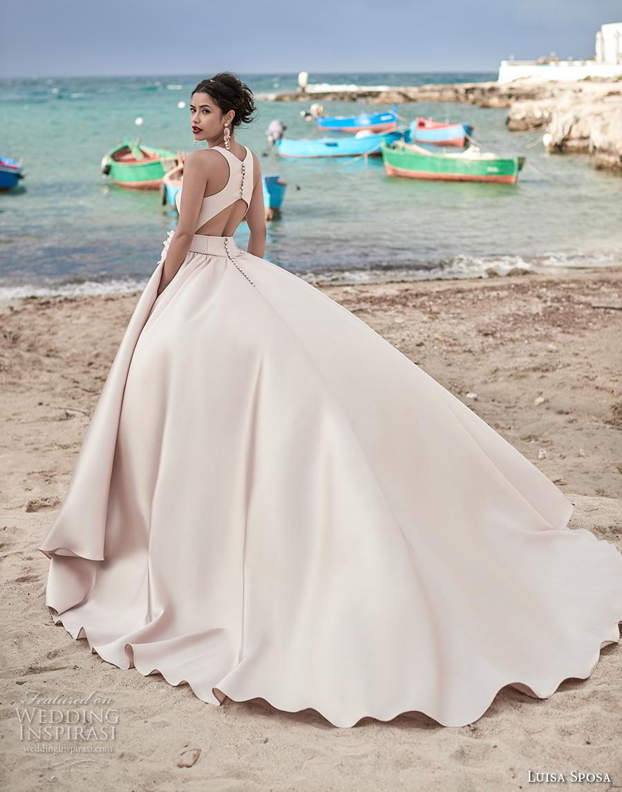 luisa sposa 2020 bridal sleeveless with strap square neckline simple minimalist princess blush ball gown a  line wedding dress keyhole back royal train (23) bv