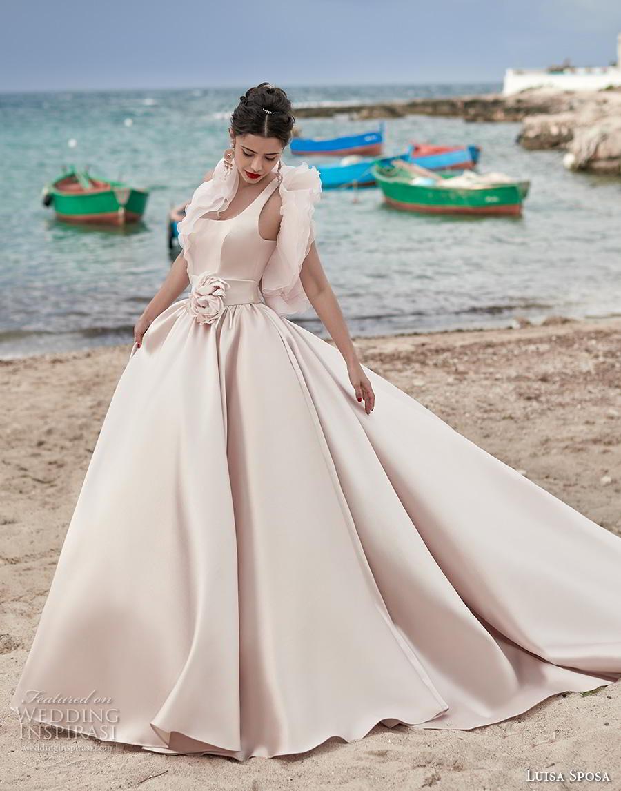 luisa sposa 2020 bridal sleeveless with strap square neckline simple minimalist princess blush ball gown a  line wedding dress keyhole back royal train (23) mv