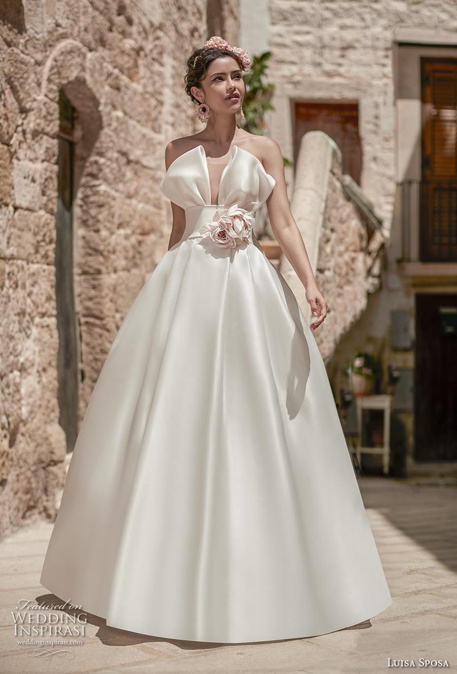 luisa sposa 2020 bridal strapless crumb catcher simple minimalist romantic a  line wedding dress (15) mv