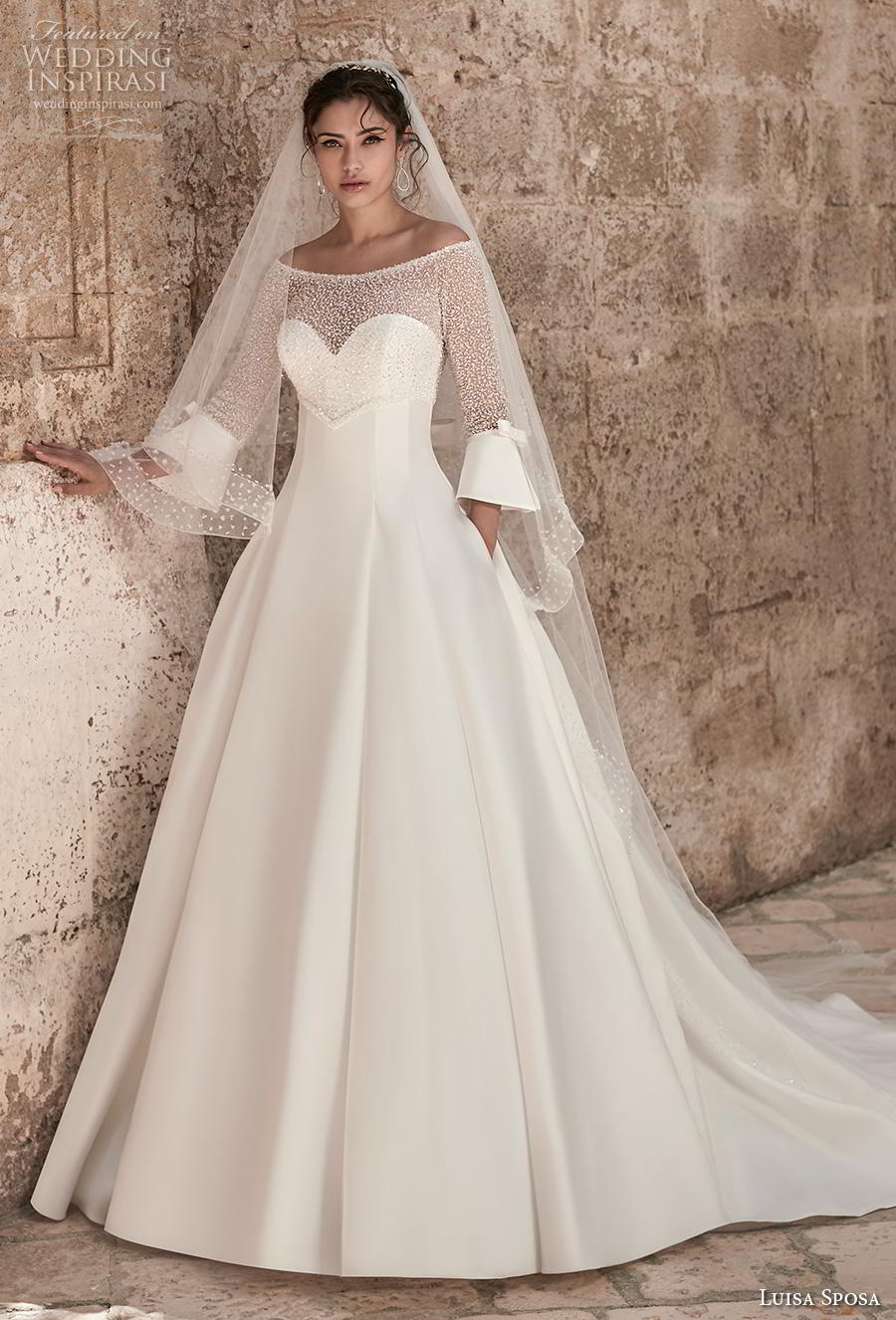 luisa sposa 2020 bridal three quarter lantern sleeves off the shoulder heavily embellished bodice princess a  line wedding dress with pockets chapel train (14) mv