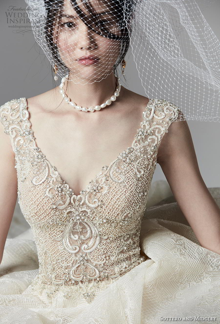 sottero and midgley fall 2019 bridal cap sleeves heavily embellished bodice v neck romantic a  line wedding dress backless chapel train (7) zv