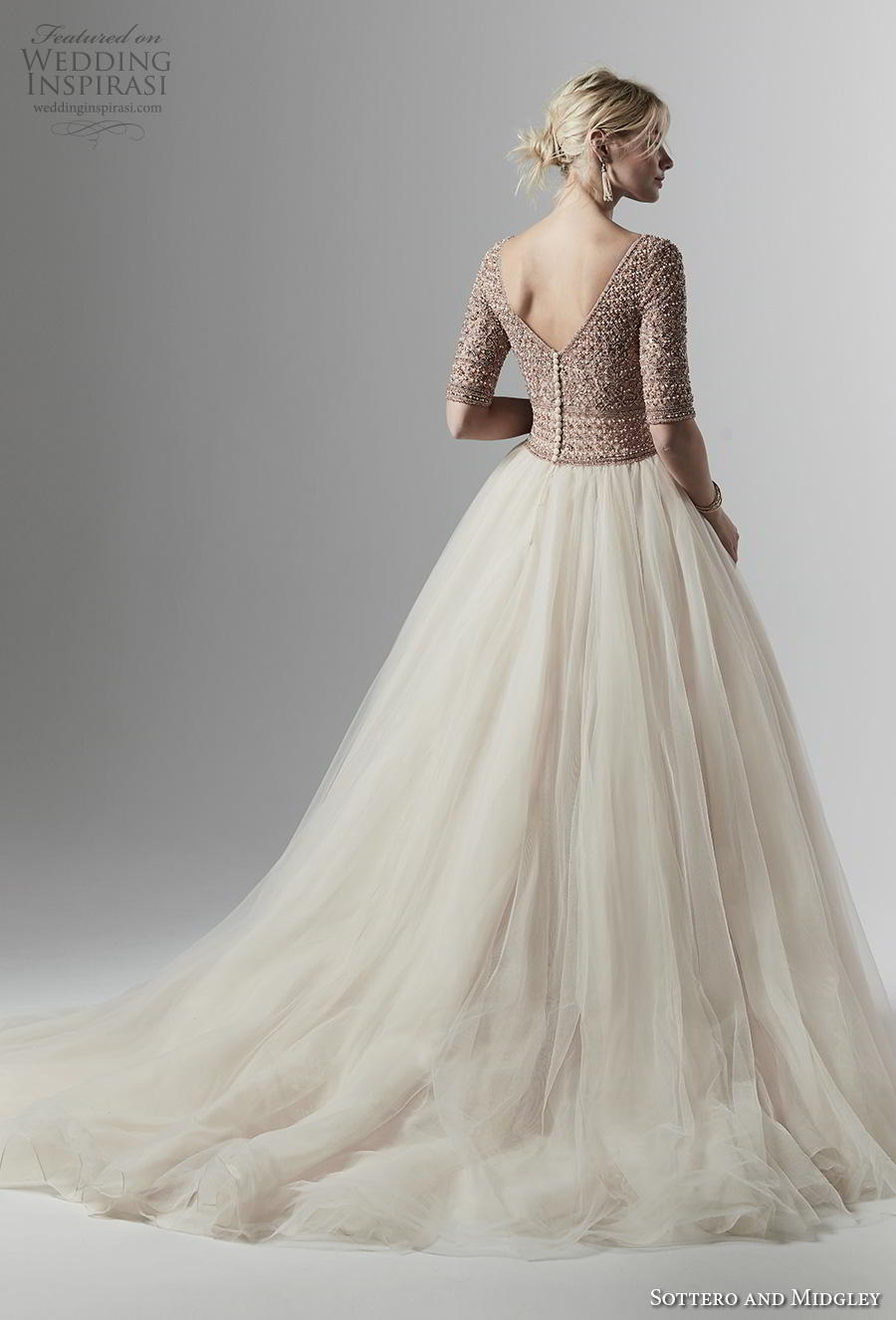 sottero and midgley fall 2019 bridal half sleeves bateau neck heavily embellished bodice tulle skirt princess ivory ball gown a  line wedding dress v back chapel train (10) bv