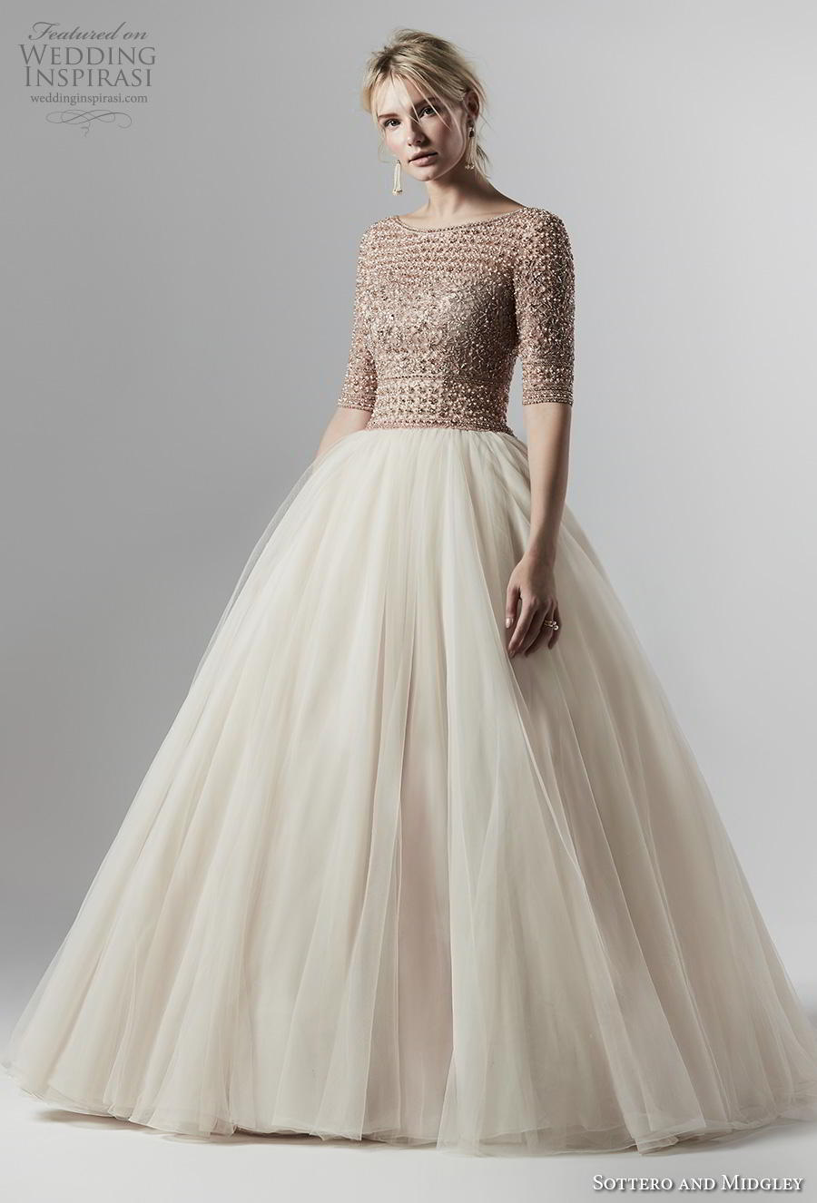 sottero and midgley fall 2019 bridal half sleeves bateau neck heavily embellished bodice tulle skirt princess ivory ball gown a  line wedding dress v back chapel train (10) mv