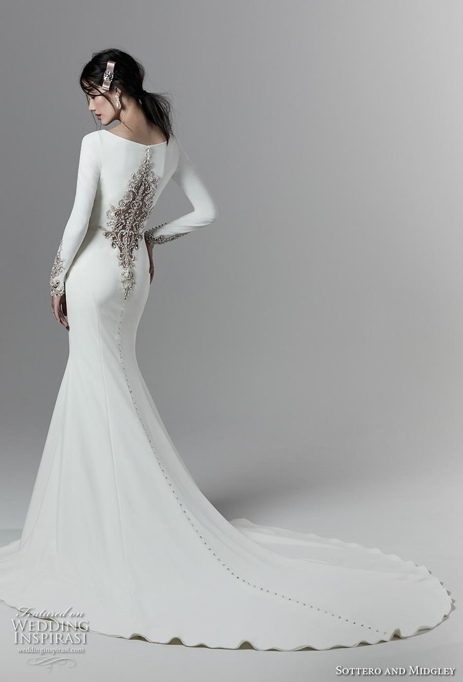 sottero and midgley fall 2019 bridal long sleeves bateau neckline simple minimalist elegant fit and flare wedding dress embellished back chapel train (6) bv