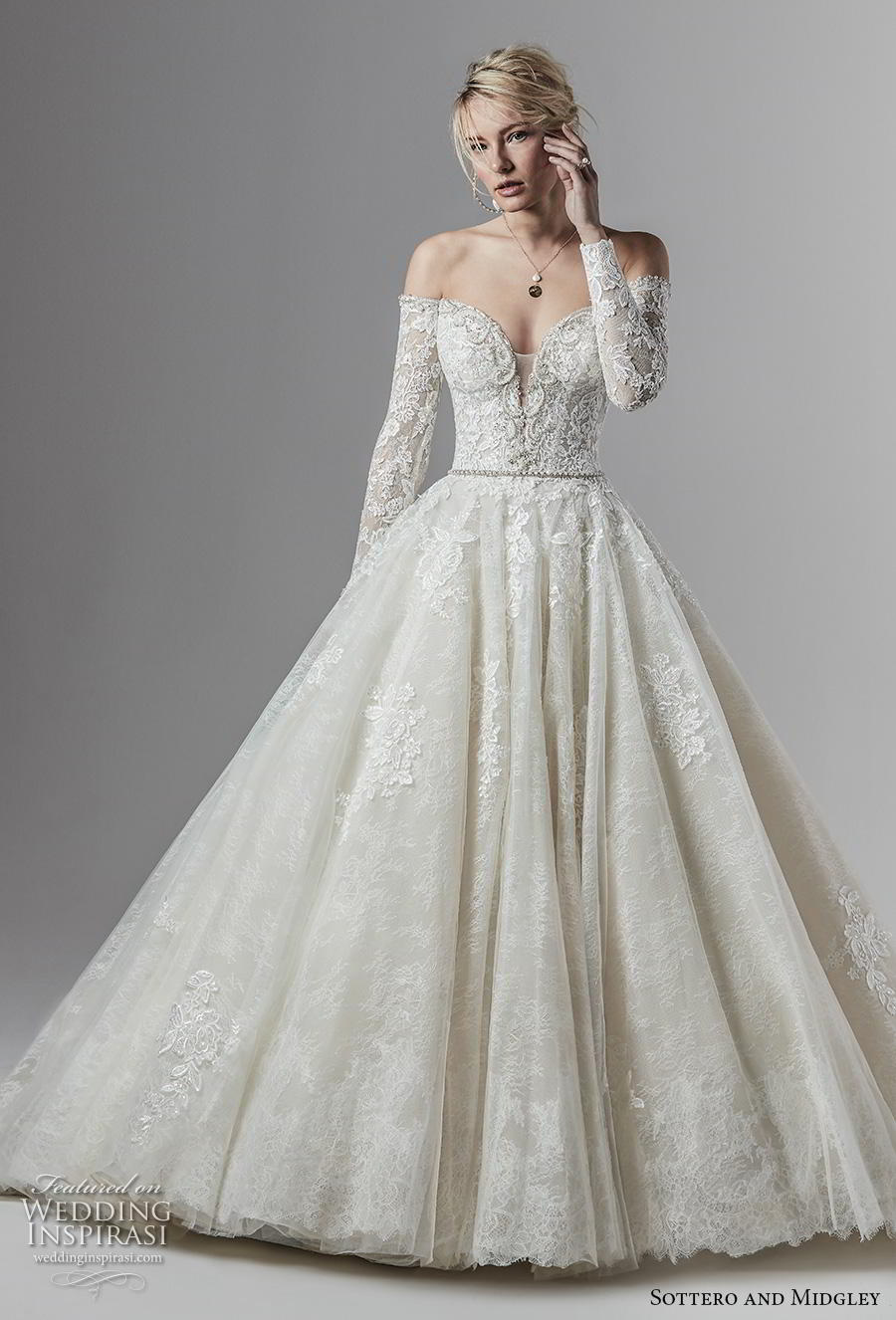 sottero and midgley fall 2019 bridal long sleeves off the shoulder sweetheart neckline heavily embellished bodice princess a  line wedding wedding dress with pockets mid back chapel train (1) mv