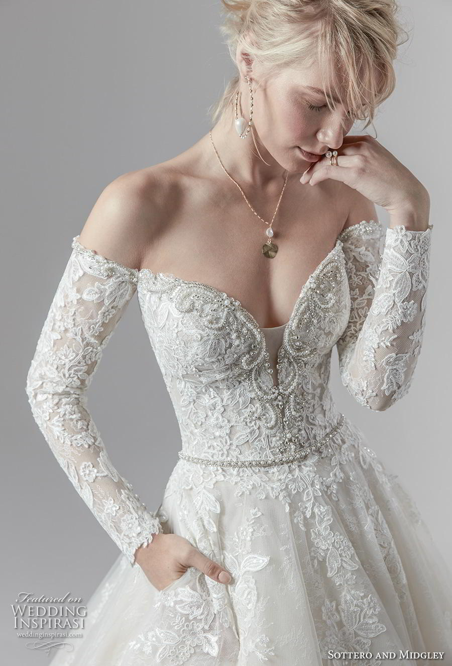 sottero and midgley fall 2019 bridal long sleeves off the shoulder sweetheart neckline heavily embellished bodice princess a  line wedding wedding dress with pockets mid back chapel train (1) zv