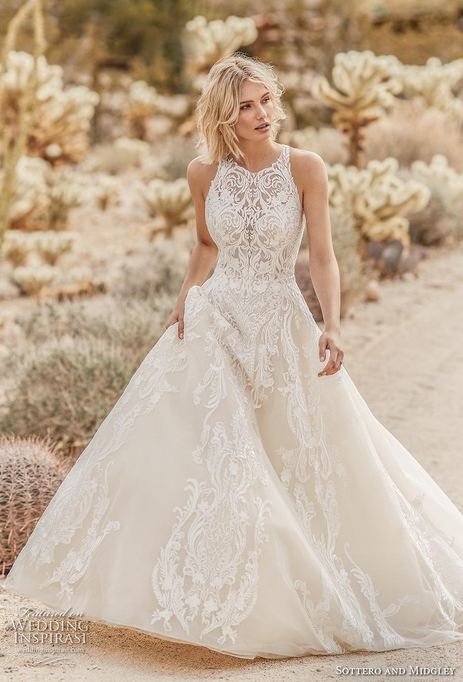 sottero and midgley fall 2019 bridal sleeveless halter neck heavily embellished bodice romantic a  line wedding dress covered lace back chapel train (4) mv