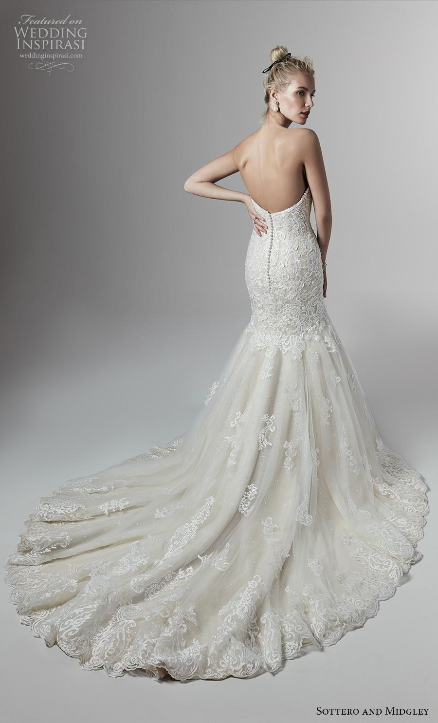 sottero and midgley fall 2019 bridal strapless sweetheart neckline heavily embellished bodice romantic fit and flare trumpet wedding dress backless chapel train (2) bv
