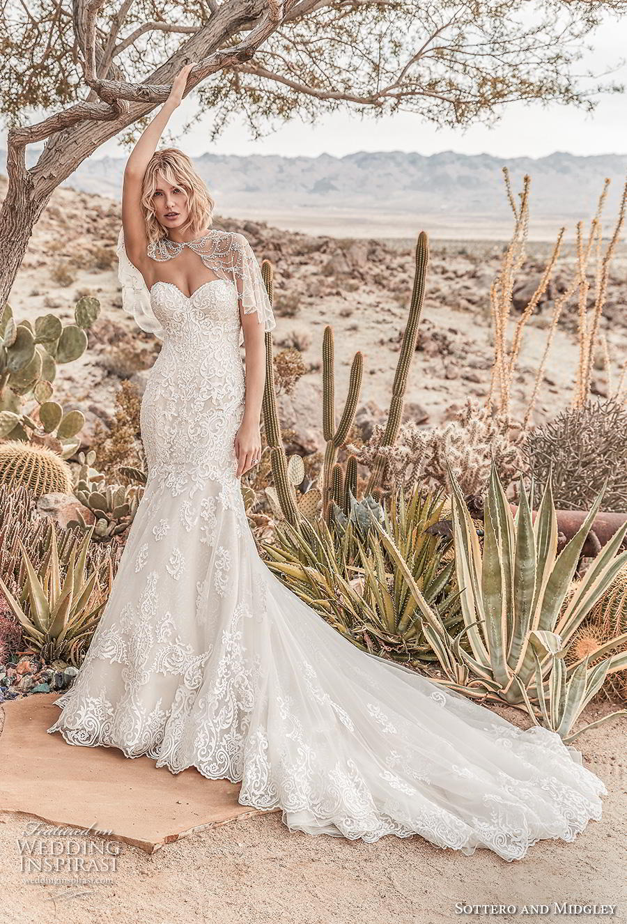 sottero and midgley fall 2019 bridal strapless sweetheart neckline heavily embellished bodice romantic fit and flare trumpet wedding dress backless chapel train (2) mv