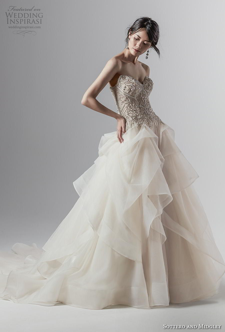 sottero and midgley fall 2019 bridal strapless sweetheart neckline heavily embellished bodice tiered skirt glamorous ivory ball gown a  line wedding dress mid back chapel train (13) mv