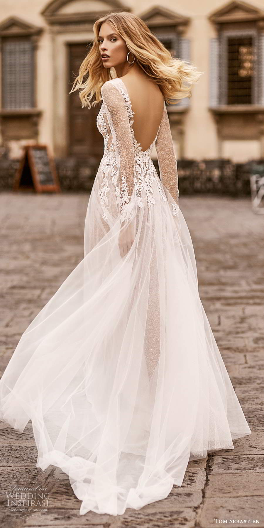tom sebastien 2020 bridal illusion long sleeves plunging neckline heavily embellished bodice a line ball gown wedding dress chapel train (16) bv