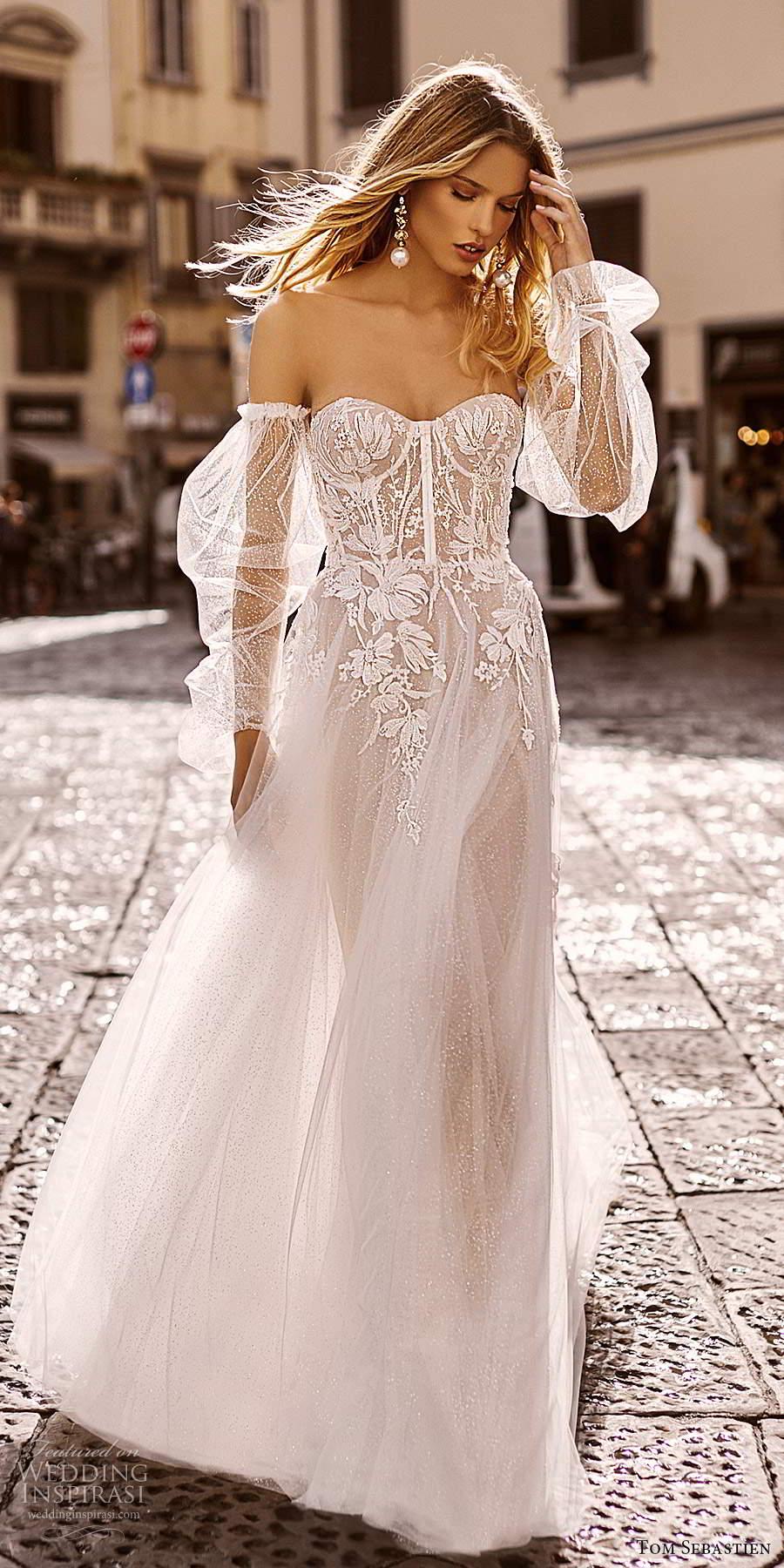 tom sebastien 2020 bridal sheer detached long puff sleeves strapless sweetheart fully embellished a line ball gown wedding dress chapel train (1) mv