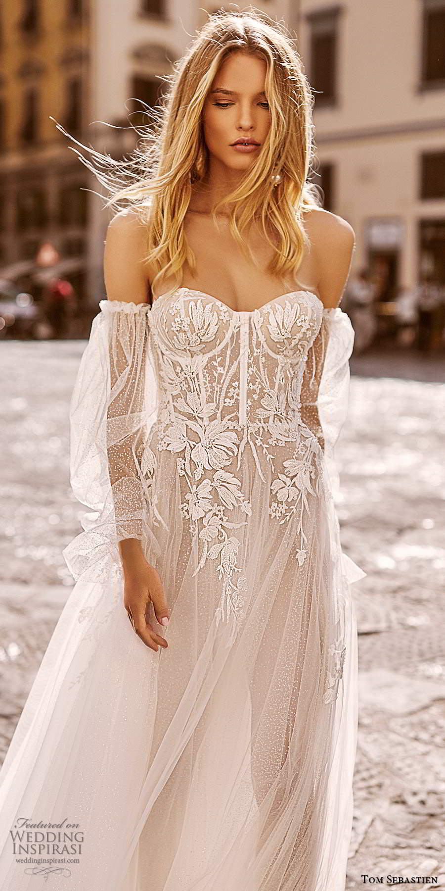 tom sebastien 2020 bridal sheer detached long puff sleeves strapless sweetheart fully embellished a line ball gown wedding dress chapel train (1) zv