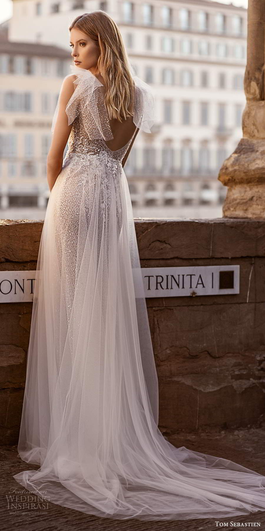 tom sebastien 2020 bridal sleeveless bow straps plunging v neckline fully embellished soft a line ball gown wedding dress slit skirt chapel train scoop back (4) bv