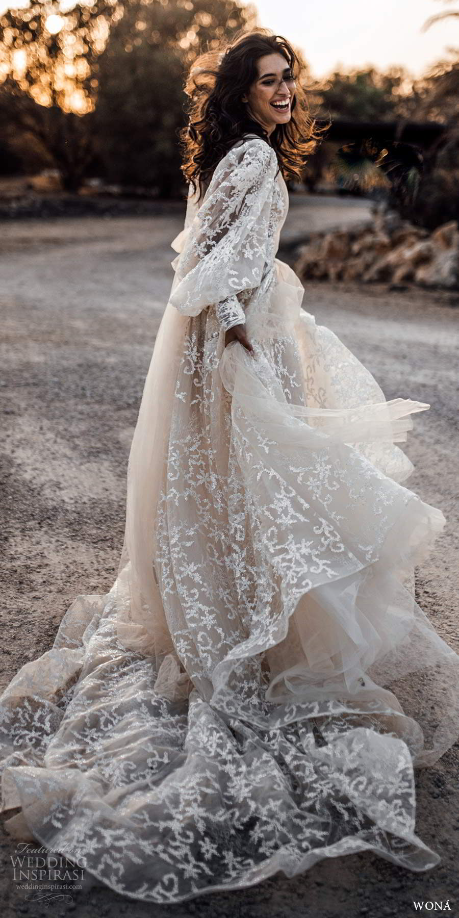 wona fall 2020 bridal illusion long poet sleeves crossover v neckline fully embellished lace a line ball gown wedding dress chapel train (4) bv