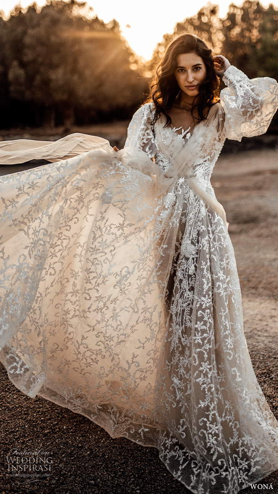 wona fall 2020 bridal illusion long poet sleeves crossover v neckline fully embellished lace a line ball gown wedding dress chapel train (4) mv