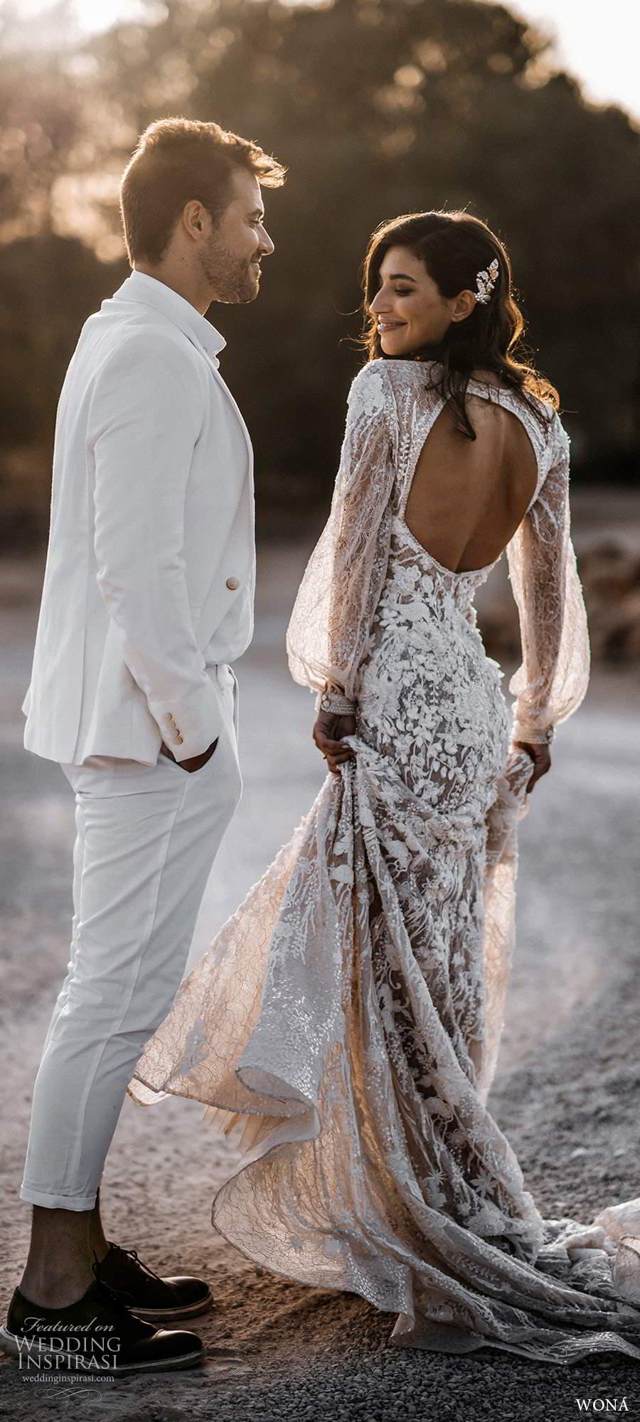 wona fall 2020 bridal illusion long poet sleeves v neckline fully embellished a line fit flare wedding dress keyhole back chapel train (6) bv