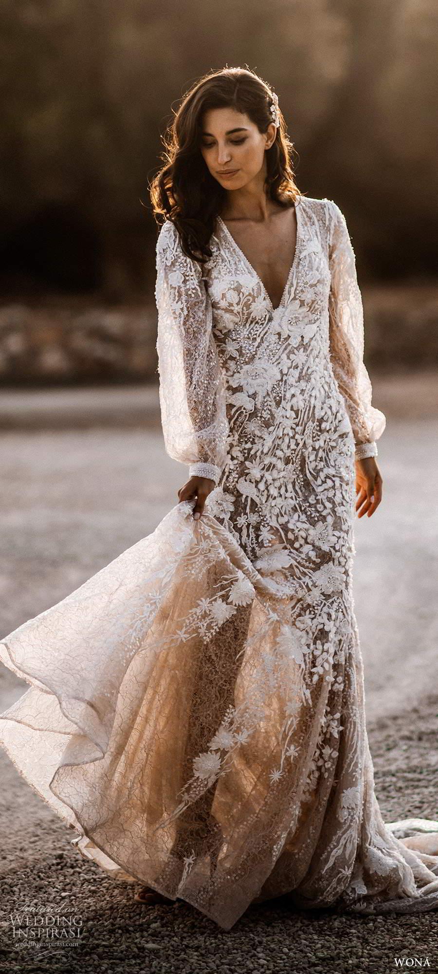 wona fall 2020 bridal illusion long poet sleeves v neckline fully embellished a line fit flare wedding dress keyhole back chapel train (6) mv