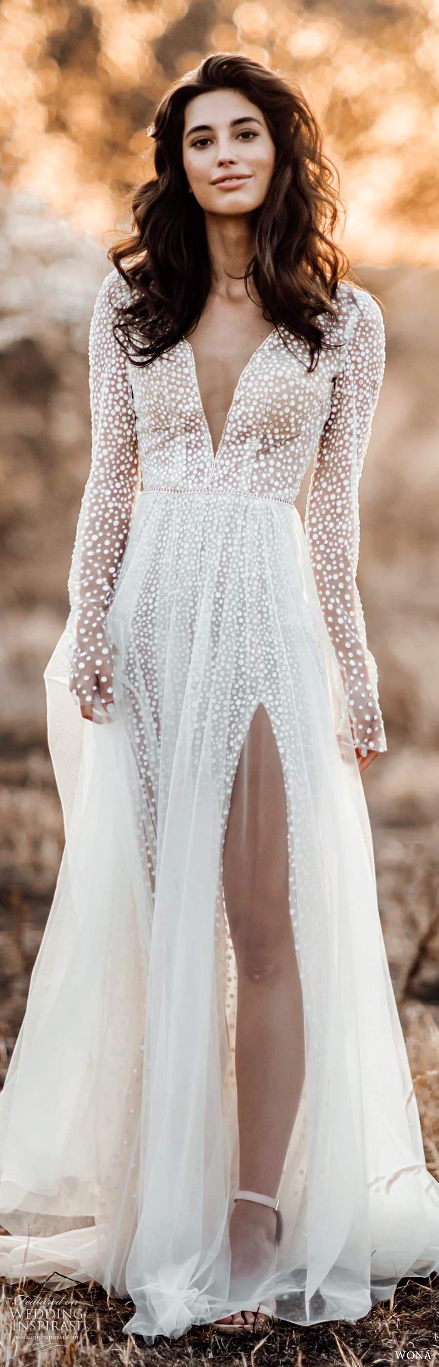 wona fall 2020 bridal illusion long sleeves plunging v neckline fully embellished a line wedding dress slit skirt chapel train (17) mv