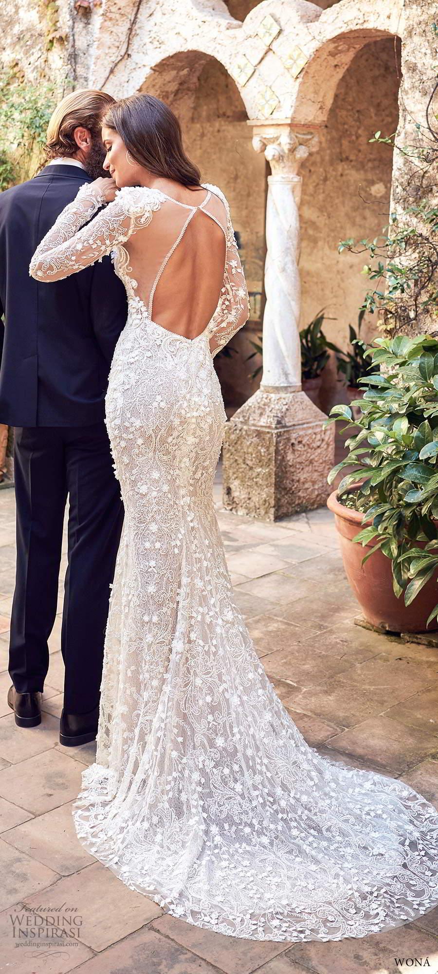 wona fall 2020 bridal illusion long sleeves plunging v neckline fully embellished fit flare sheath mermaid wedding dress keyhole back chapel train (13) bv