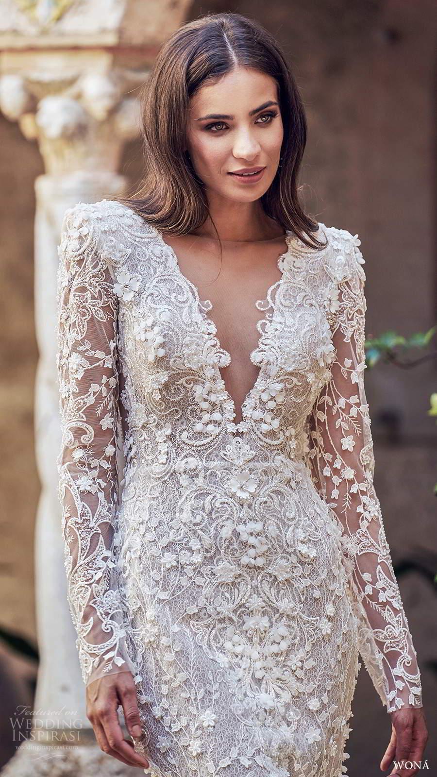 wona fall 2020 bridal illusion long sleeves plunging v neckline fully embellished fit flare sheath mermaid wedding dress keyhole back chapel train (13) mv
