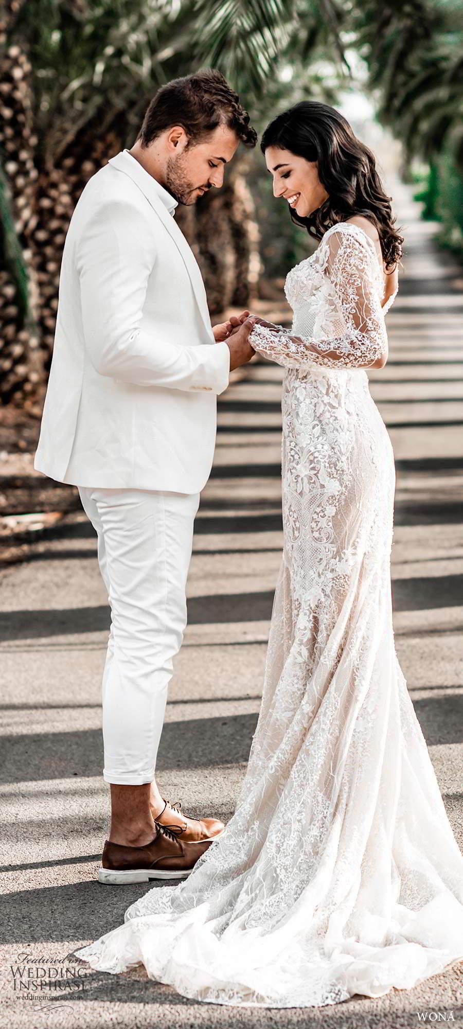 wona fall 2020 bridal illusion long sleeves sweetheart neckline fully embellished lace fit flare mermaid wedding dress blush v back chapel train (12) mv