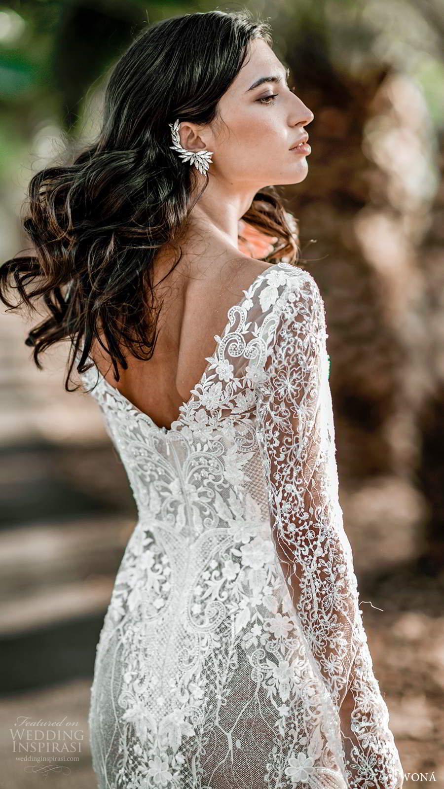 wona fall 2020 bridal illusion long sleeves sweetheart neckline fully embellished lace fit flare mermaid wedding dress blush v back chapel train (12) zbv
