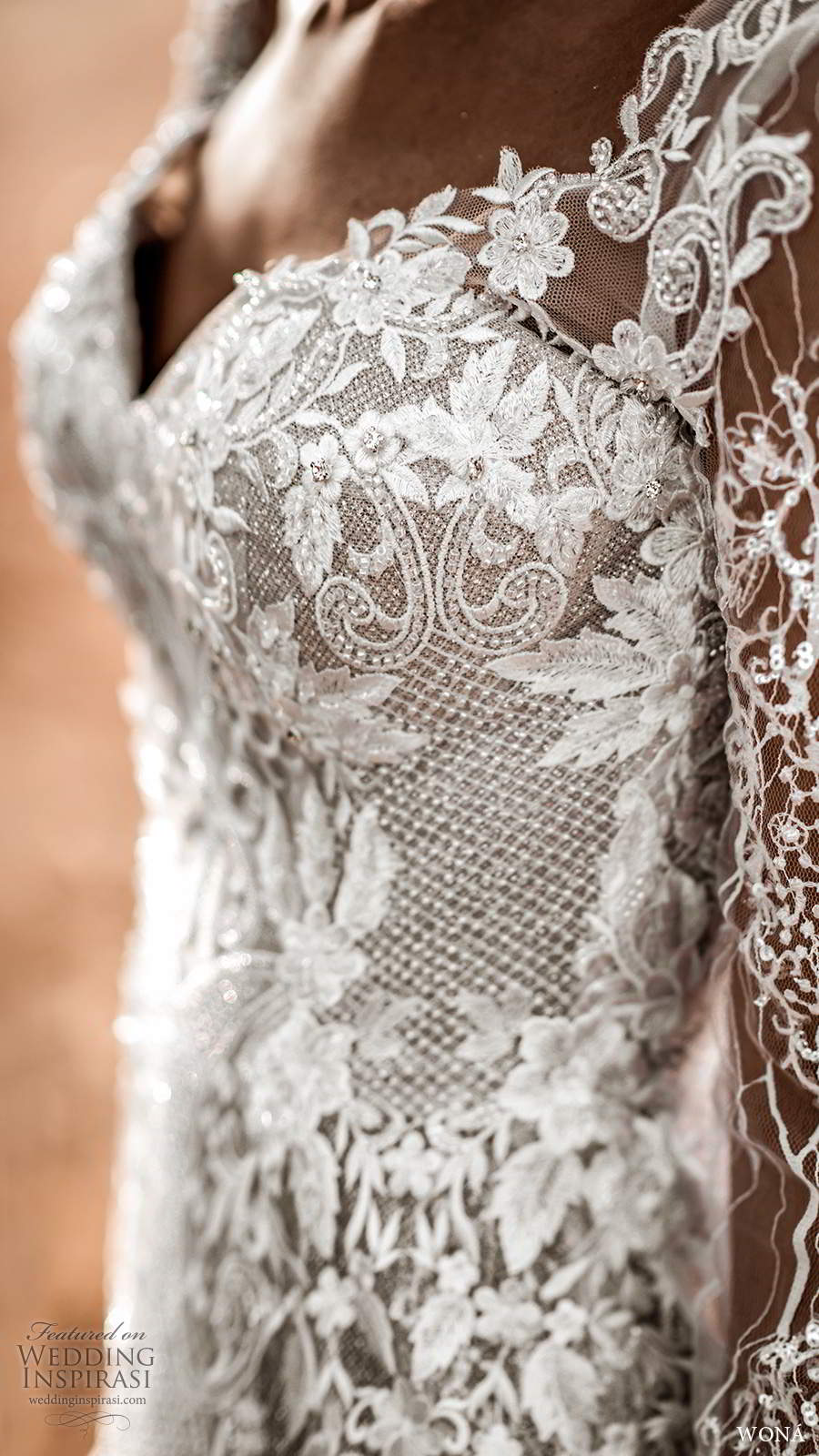 wona fall 2020 bridal illusion long sleeves sweetheart neckline fully embellished lace fit flare mermaid wedding dress blush v back chapel train (12) zv